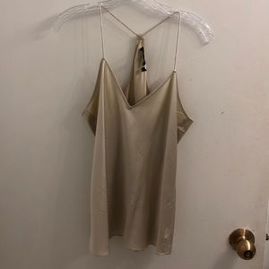 Theory Champagne 100% Silk Vee Neck Camisole